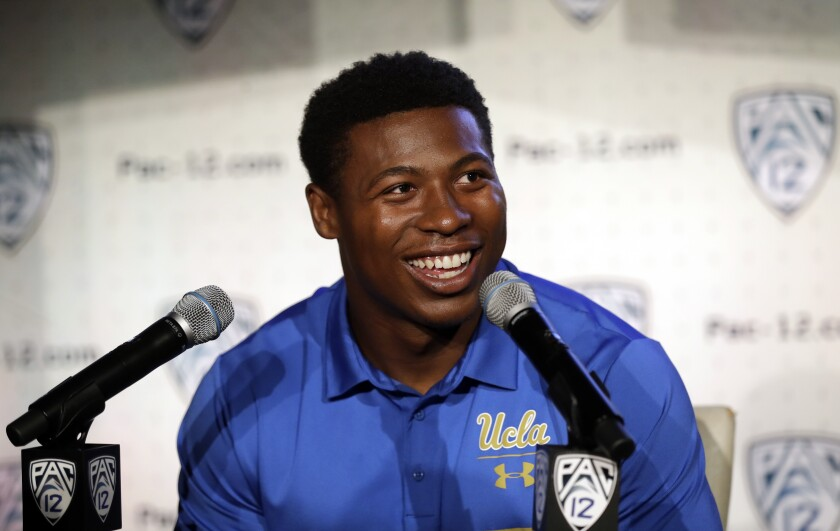 UCLA running back Joshua Kelley answers questions during the Pac-12 Media Day on Wednesday in Los Angeles.