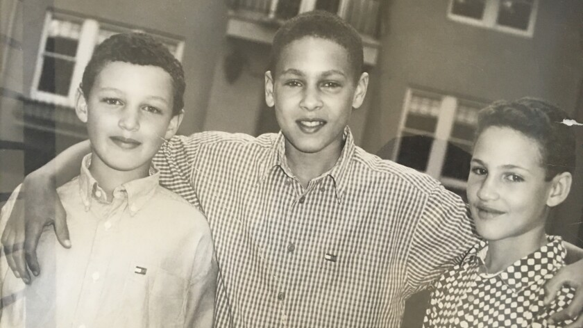 "From left, Trayce, Mychel and Klay Thompson. ""I didn't encourage one sport over another,"" their famous father Mychal says."