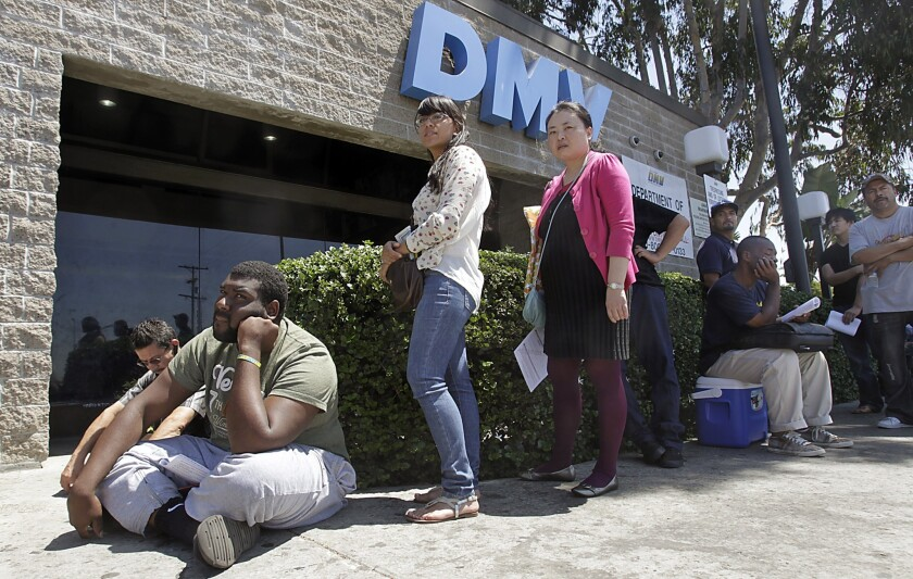 In line at the DMV in Los Angeles