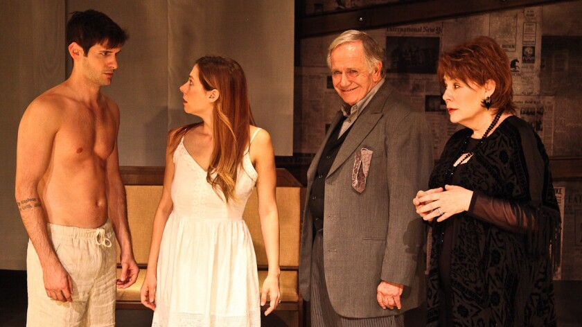 """Philip Orazio, left, Allison Blaize, Sam Anderson and Taylor Gilbert star in """"The Play About the Baby"""" at the Road on Magnolia in North Hollywood."""