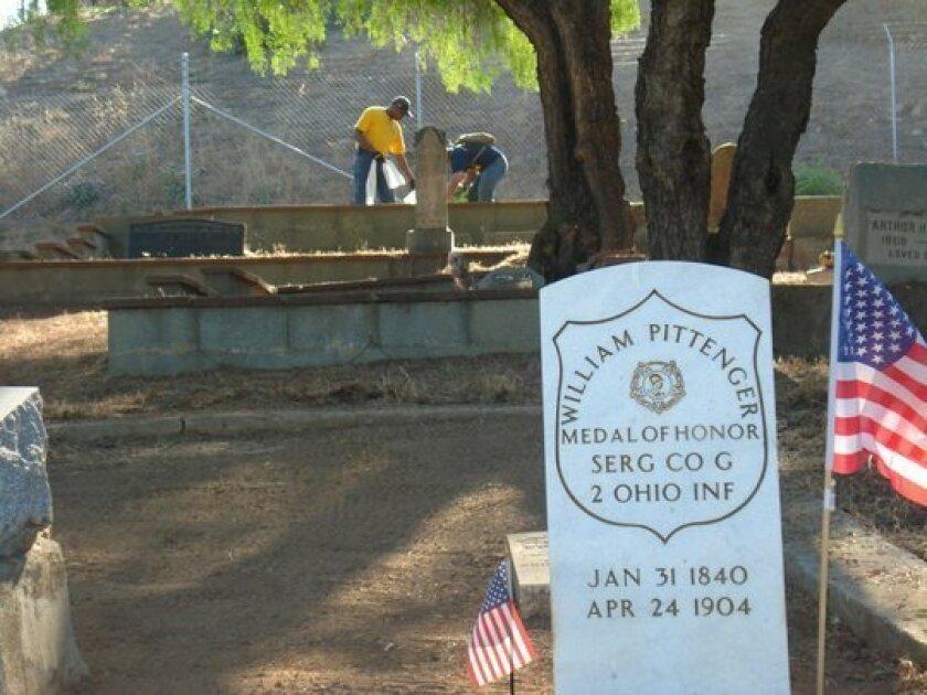 The grave of Civil War veteran William Pittenger at the historic Pioneer Odd Fellows Cemetery in Fallbrook. U-T