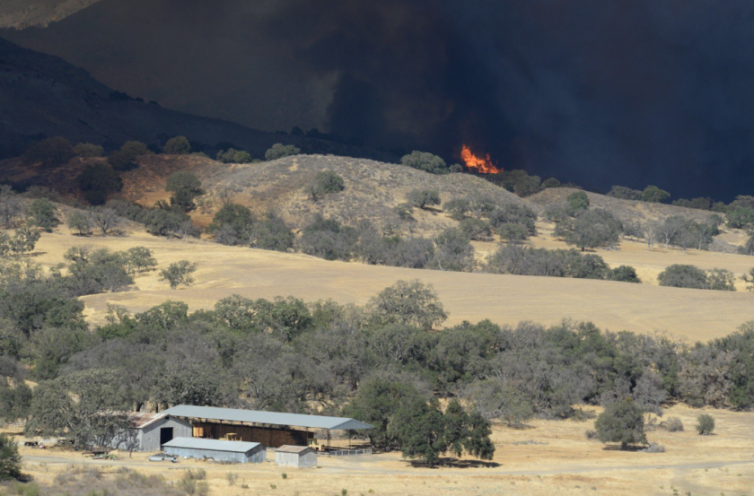 The Rey fire broke out about 3:30 p.m. near a campground in the Los Padres National Forest.