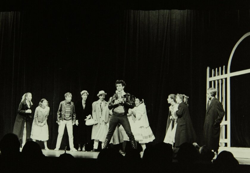 Tony Award winner Brian Stokes Mitchell as Conrad Birdie (center, in all black).