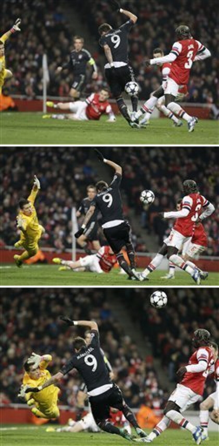 The combo shows Bayern's Mario Mandzukic of Croatia, center, deflecting a shot by Arsenal's Bacary Sagna, right, to score Bayern's 3rd goal as Arsenal goalkeeper Wojciech Szczesny, left, looks on during a Champions League, round of 16, first leg soccer match between Arsenal and Bayern Munich at Ars