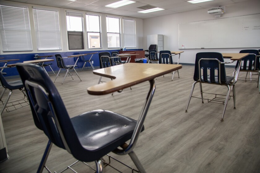 A newly renovated classroom at Cristo Rey High School in Southcrest