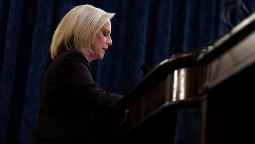 Homeland Security Secretary Kirstjen Nielsen testifies on Capitol Hill.