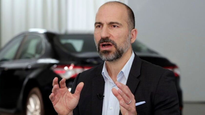 Uber CEO Dara Khosrowshahi is interviewed after the company's unveiling of the new features in New York on Wednesday.