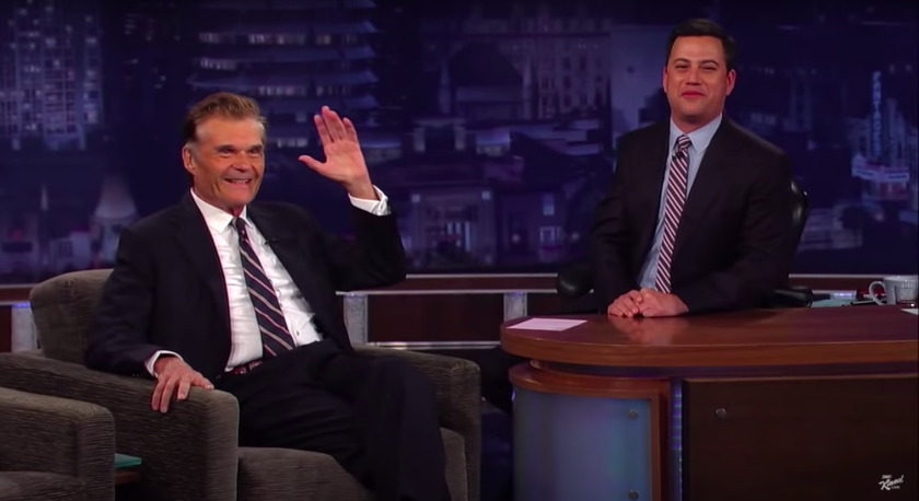 "Jimmy Kimmel, right, paid tribute to late comedy star Fred Willard on Monday's ""Jimmy Kimmel Live."""