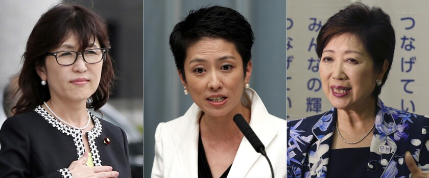 Japanese women in high-profile posts include Defense Minister Tomomi Inada, from left, opposition Democratic Party leader Renho Murata and Tokyo Gov. Yuriko Koike.