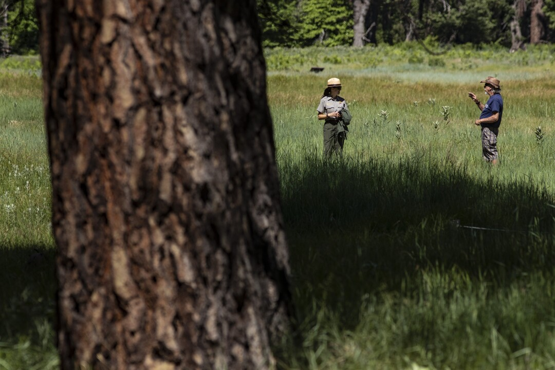 Park ranger Jamie Jirele maintains social distancing as she chats with a visitor in a meadow in Yosemite Valley.