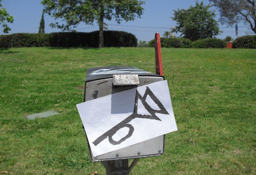"The muted post-horn symbol, found in L.A. on Pynchon in Public Day 2012, is an homage to Thomas Pynchon's novel ""The Crying of Lot 49."""