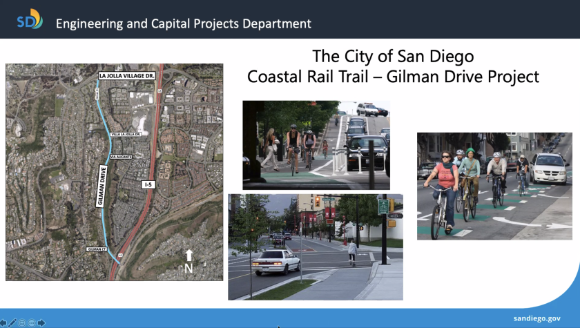 The Coastal Rail Trail seeks to add a Class IV protected bikeway along Gilman Drive in La Jolla (sample photos).