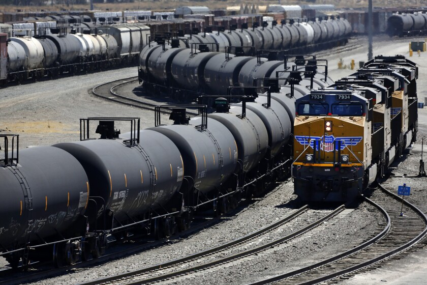 A view of Union Pacific West Colton Yard Bloomington. California lawmakers considered a report that officials are not prepared to deal with increased oil imports by train.