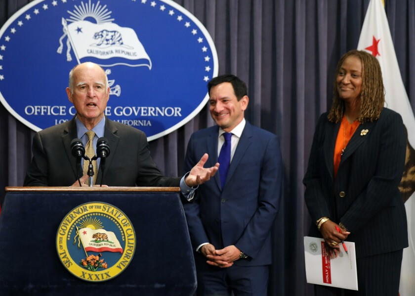 Former Gov. Jerry Brown, Assembly Speaker Anthony Rendon and state Sen. Holly Mitchell