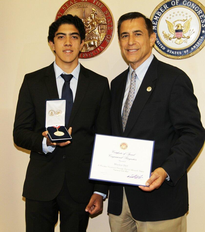 Rancho Santa Fe Congressional Award Gold Medalist Bhaskar Dutt with Congressman Darrell Issa.