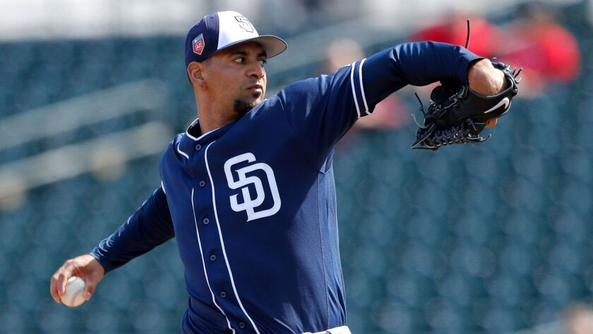 Padres pitcher Tyson Ross throws during the first inning of Thursday's spring training game against the Texas Rangers.