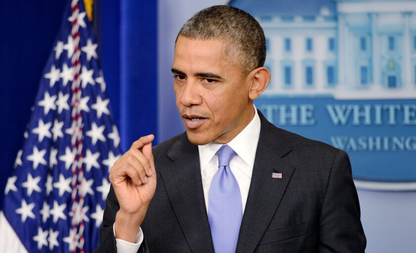 President Obama delivers a statement on the Affordable Care Act in the Brady Press Briefing Room of the White House.