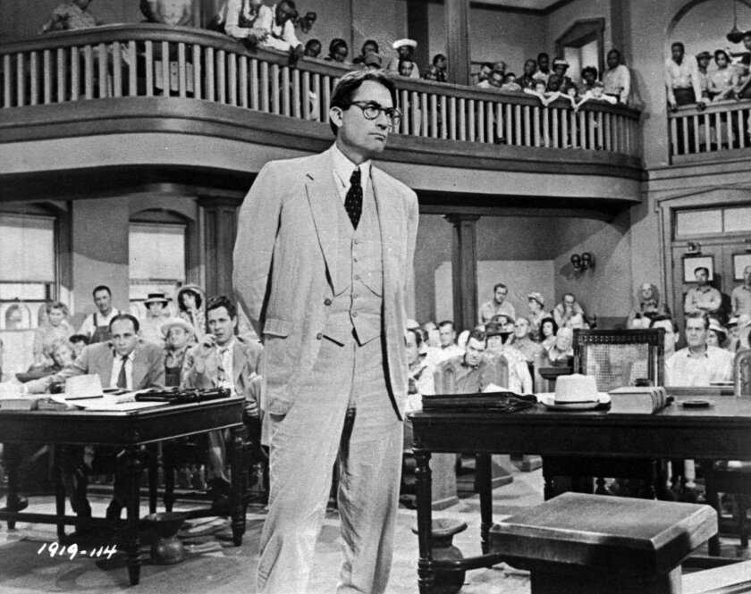 """Gregory Peck as Atticus Finch in the film version of Harper Lee's """"To Kill a Mockingbird."""" Her new novel centers on Finch's daughter Scout's return as an adult to visit her hometown in the segregated South."""
