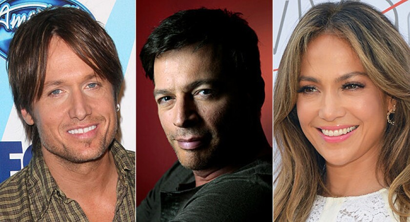 "Returning ""American Idol"" judge Keith Urban, left, will be joined by Harry Connick Jr. and Jennifer Lopez."