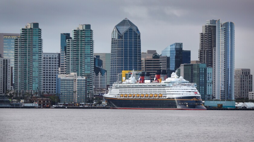 The cruise ship Disney Wonder, docked at the B Street Pier on the Embarcadero.