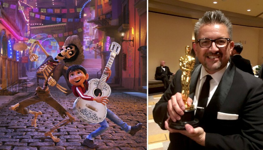 "Lalo Alcaraz, pictured right, is a San Diego State University alumnus who worked as a cultural consultant for the Disney-Pixar movie ""Coco,"" pictured left."
