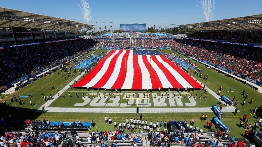 The StubHub Center in Carson, shown during a September game between the NFL's Kansas City Chiefs and the Los Angeles Chargers, is the permanent home of the L.A. Galaxy soccer team and the temporary home of the Chargers. The stadium is to be renamed Dignity Health Sports Park.