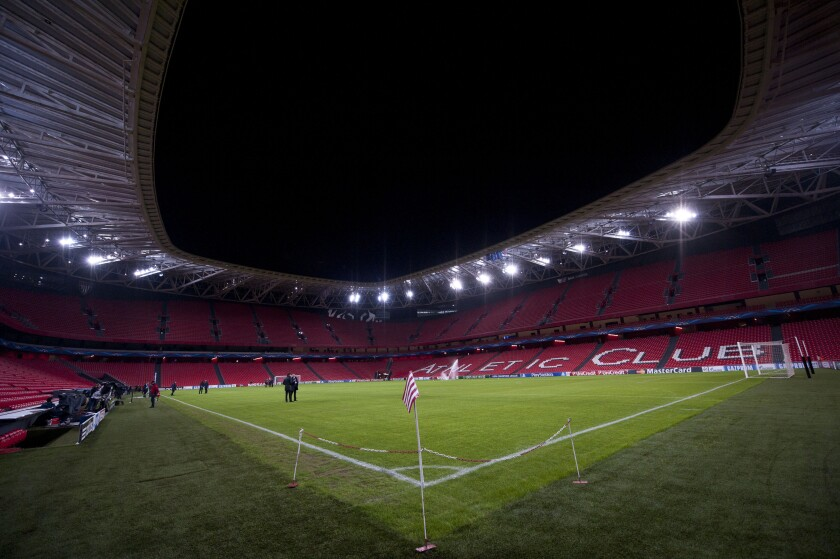 FILE - This Wednesday, Dec.10, 2014 file photo shows a general view of San Mames stadium in Bilbao, northern Spain. The Spanish soccer federation has on Friday, April 16, 2021 offered Sevilla as an alternative host city for the European Championships if UEFA rules out using Bilbao as planned. The federation has suggested that Sevilla's La Cartuja Stadium could be used instead of Bilbao's San Mames. Last week the federation ruled out allowing fans into San Mames due to the pandemic situation. (AP Photo/Alvaro Barrientos, file)