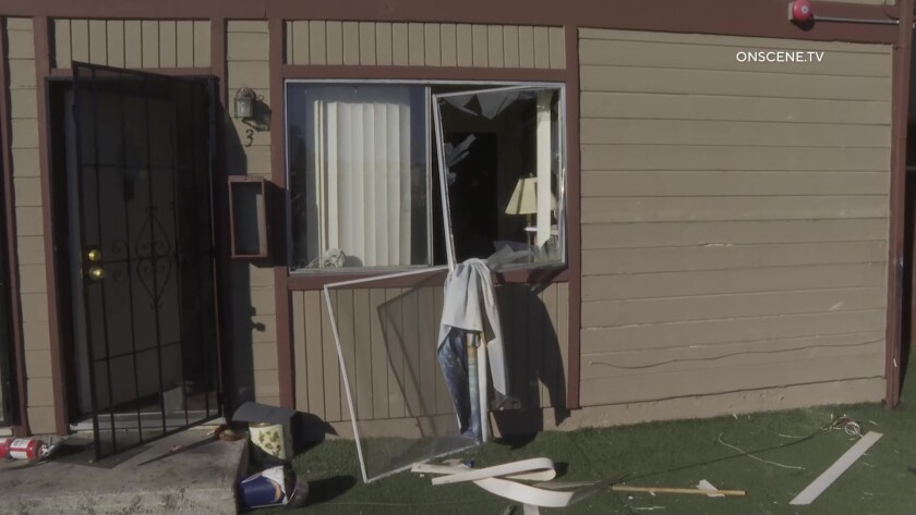 Window damaged after explosion in apartment