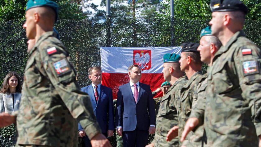 Polish President Duda visits Adazi military base in Latvia - 28 Jun 2018