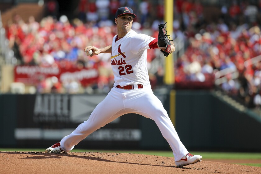 St. Louis Cardinals starting pitcher Jack Flaherty delivers during the first inning against the Chicago Cubs on Sunday in St. Louis.