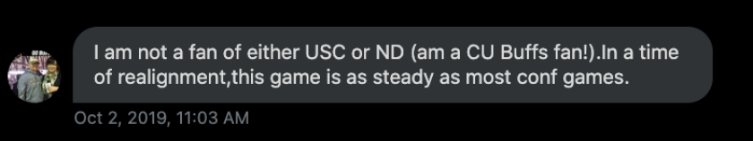 Colorado fan Matt Toepfer, from Longmont, Colo. comments on the USC-ND rivalry.