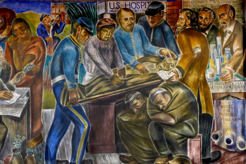 African American midwife Biddy Mason depicted by artist Bernhard Zakheim in 1930s murals at UC San Francisco .