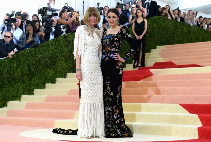 "Anna Wintour, left, and daughter Bee Shaffer arrive at The Metropolitan Museum of Art Costume Institute Benefit Gala, celebrating the opening of ""Manus x Machina: Fashion in an Age of Technology"" on May 2 in New York."