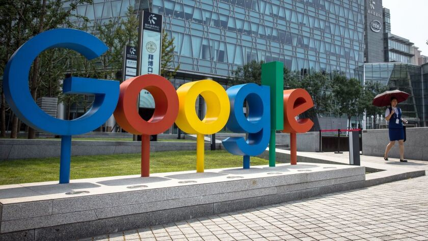 Google planned to send its chief legal officer to testify before a Senate panel, insisting that its CEO and parent company Alphabet's CEO were the wrong people for that task. Above, a Google office in Beijing.