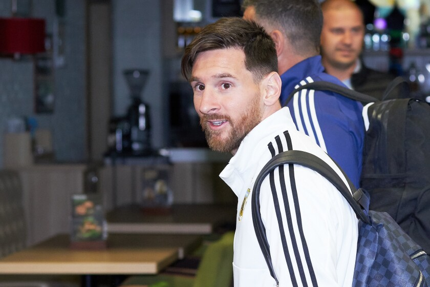 Lionel Messi of Argentina football team player arrives to compete in the 2018 World Cup at Zhukovsky airport on June 9, 2018 in Moscow, Russia.
