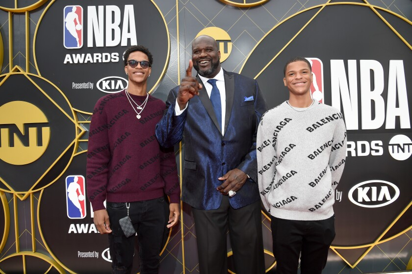 Shareef O'Neal, Shaquille O'Neal, and Shaqir O'Neal attend the 2019 NBA Awards at Barker Hangar.