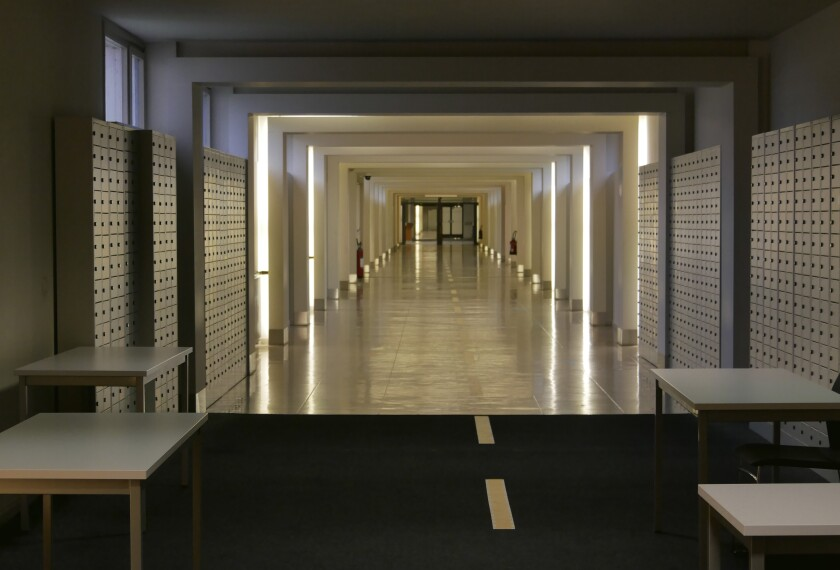 A general view of the site where the pre-trial chamber for the attacks at Zaventem airport and Brussels will take place, in Brussels, Thursday, Dec. 3, 2020. The new courtroom is housed in the former NATO headquarters. One of the first cases to be staged at the new site will be the case against defendants suspected of involvement in the Brussels attacks at Brussels Airport and Maalbeek metro station on 22 March 2016. (AP Photo/Sylvain Plazy)