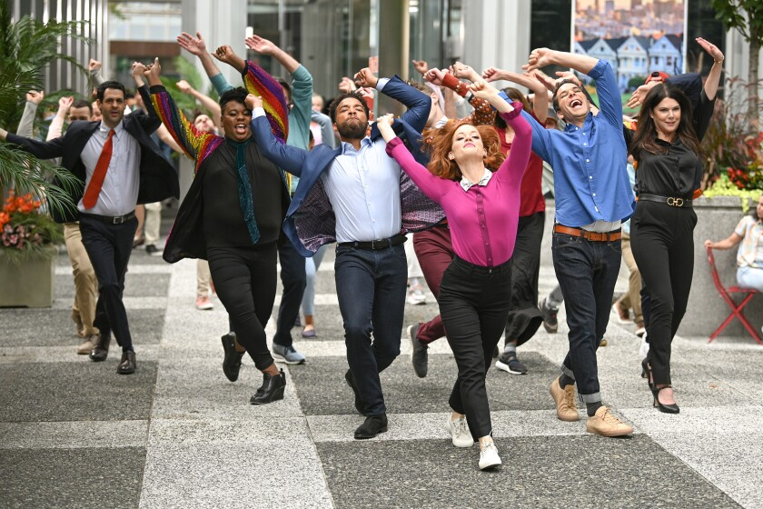 """The cast of the NBC dramedy """"Zoey's Extraordinary Playlist"""" execute a dance number."""
