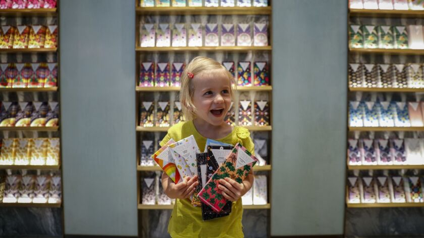 LOS ANGELES,CA --TUESDAY, JUNE 12, 2018--Ellie McNayr,5, shows off her selection of father's day and