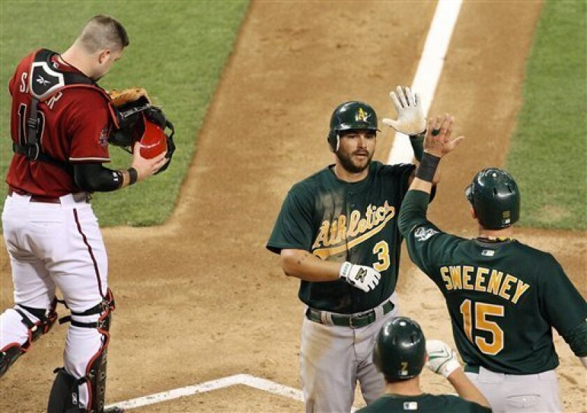 Oakland Athletics' Eric Chavez (3) celebrates with teammates Ryan Sweeney (15) and Bobby Crosby, bottom, after Chavez hit a two-run home run against the Arizona Diamondbacks in the fourth inning of a baseball game Tuesday, June 17, 2008, in Phoenix. Diamondbacks' Chris Snyder, left, puts his helmet back on. (AP Photo/Ross D. Franklin)