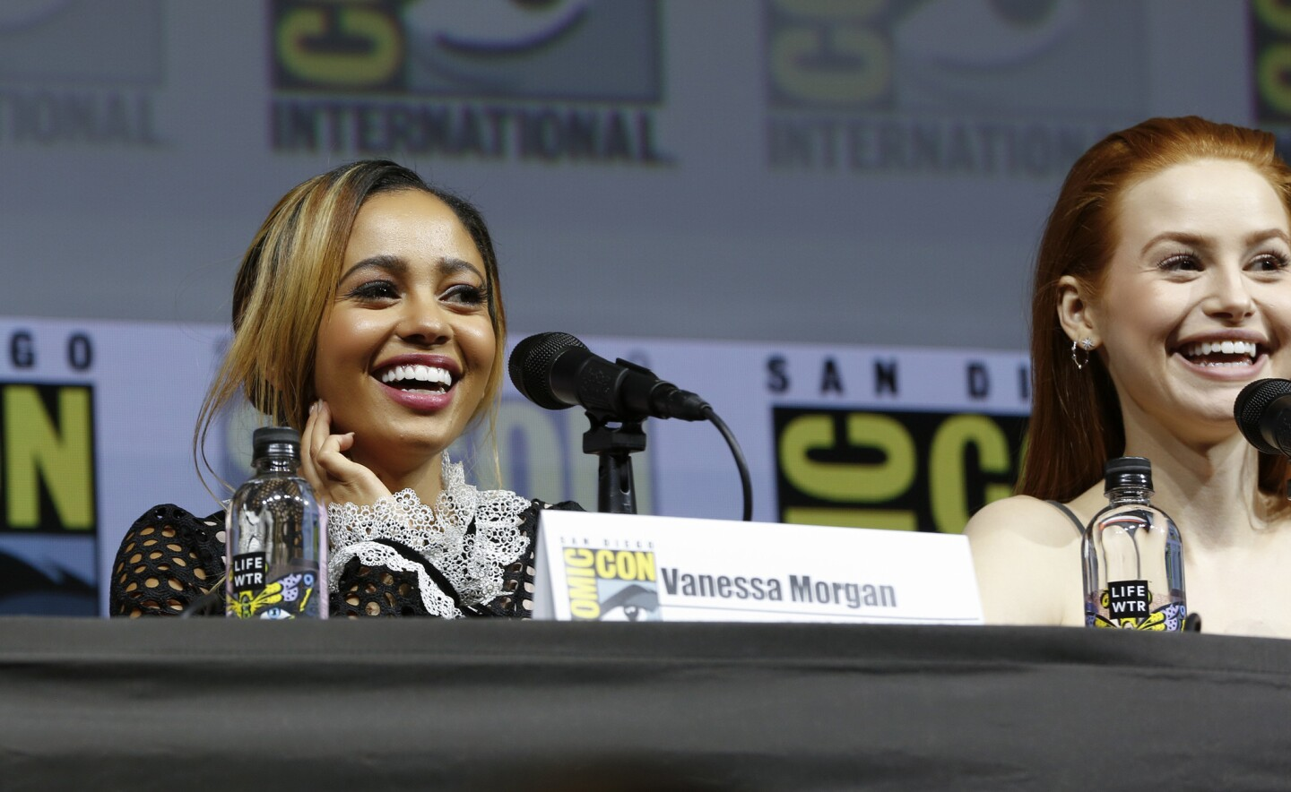 Vanessa Morgan and Madelaine Petsch from the television show Riverdale, at Comic-Con 2018 in San Diego.