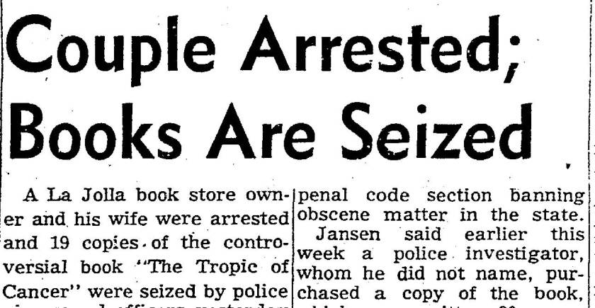"""Couple Arrested; Books Are Seized"" newspaper headline"