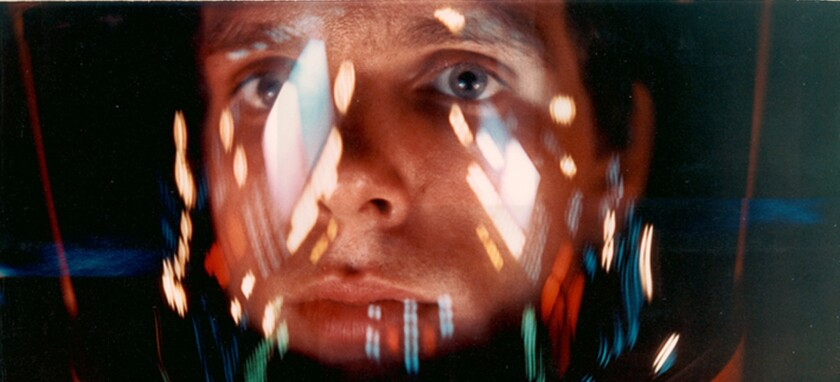The astronaut Bowman (Keir Dullea) in the memory space of the computer Hal from '2001: A Space Odyssey.'