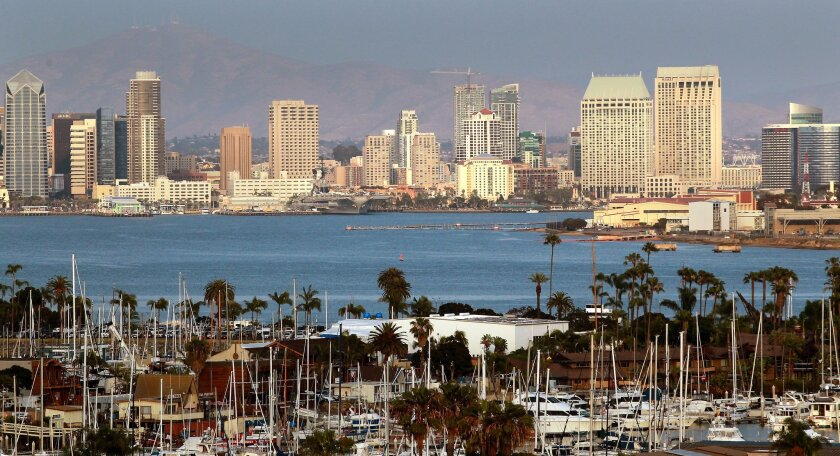 San Diego's Downtown Skyline at rear, Shelter Island in the foreground and NAS North Island at right are connected by San Diego Bay.Photo by John Gastaldo/U-T San Diego/Zuma Press