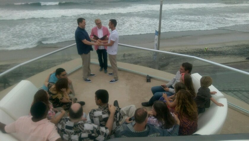 Former San Diego City Councilman Carl DeMaio married his longtime partner, Johnathan Hale, April 25 in a private ceremony near Oceanside Pier.