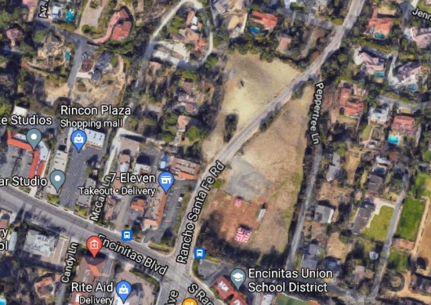 The site for the proposed Encinitas Boulevard Apartments.