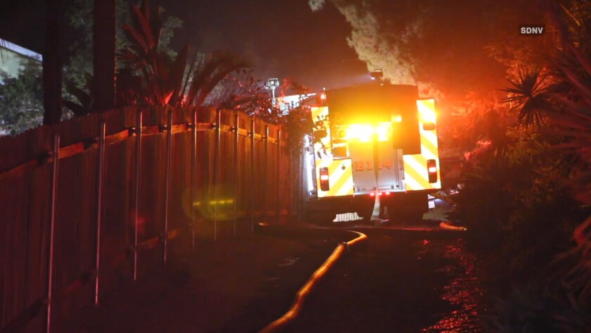Firefighters from Vista, San Marcos and Oceanside gained control of the fire at a house on Primrose Avenue early Wednesday after about 45 minutes and kept the flames from spreading to adjacent properties.