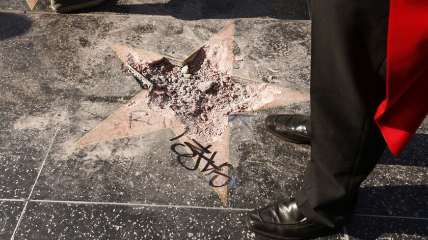 Donald Trump's star on the Hollywood Walk of Fame after it was vandalized last month.