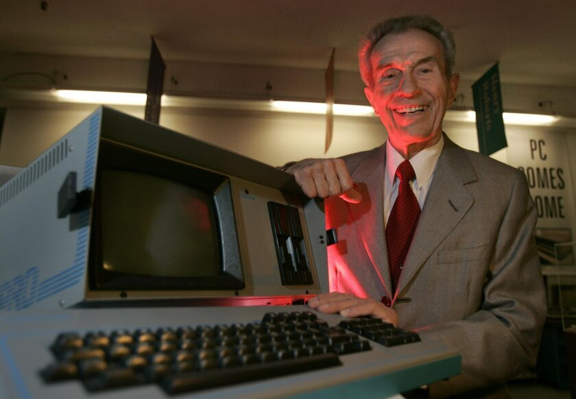 Andrew Kay shows off an old Kaypro computer in this photo taken in 2005 at a computer museum.