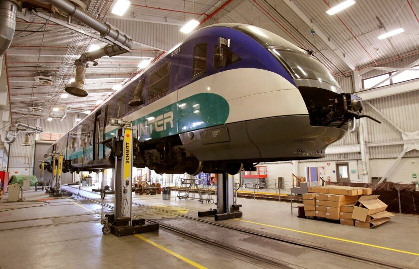 In NCTD's Escondido Sprinter maintenance facility on March 6, a Sprinter train is raised on a lift for maintenance. The trains were shut down March 9 due rapid brake wear.